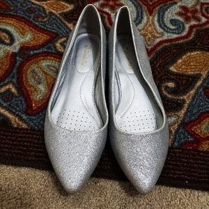 Dream Pairs Silver Glitter Party Wedding Flats